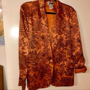 100% SILK shiny blazer orange black paisley boho S